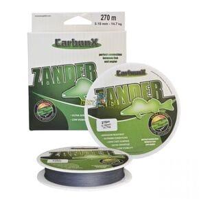 Плетеный шнур сarbon X  ZANDER 0,10mm (270M)  8,4кг серый