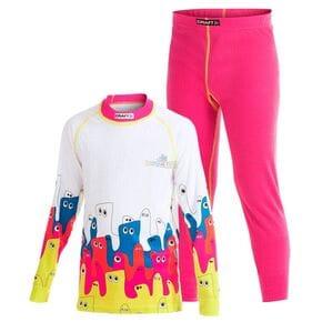 Комплект термобелья детский Craft Active Multi 2-Pack розовый/желтые швы