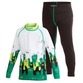 Комплект термобелья детский Craft Active Multi 2-Pack черный/зеленые швы