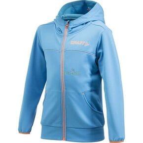 Куртка флисовая детская Craft Stretch Hood Full Zip голубая