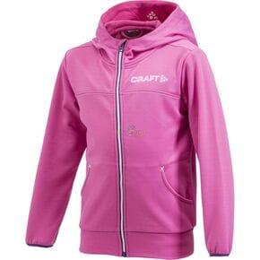 Куртка флисовая детская Craft Stretch Hood Full Zip розовая