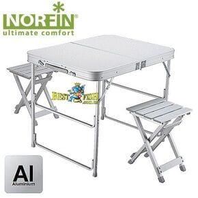 Стол складной Norfin BOREN NF алюминиевый 80x60 +2 стула