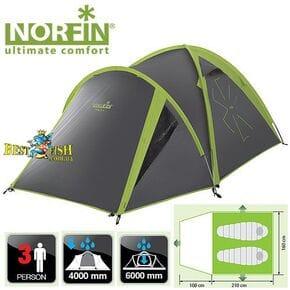 Палатка 3-х местная Norfin CARP 2+1 NF ALU алюминиевые дуги