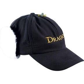 Кепка Dragon теплая черная с белым мехом